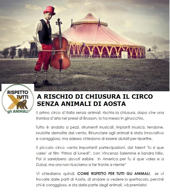 A RISCHIO CHIUSURA IL PRIMO CIRCO SENZA ANIMALI
